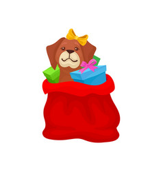 adorable puppy with bow on head sitting in red bag vector image