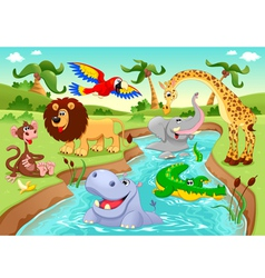 African animals in the jungle vector