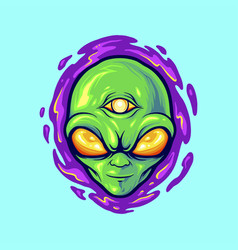 alien head mascot monster vector image