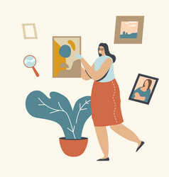 Art expertise concept museum expert female vector
