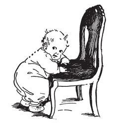 Baby on chair pulling himself vintage engraving vector