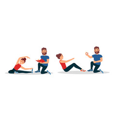 Bearded man as fitness trainer or oach giving vector