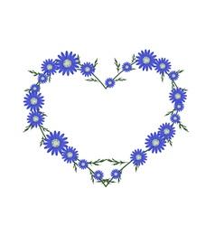 Beautiful Blue Daisy Flowers in Heart Shape vector