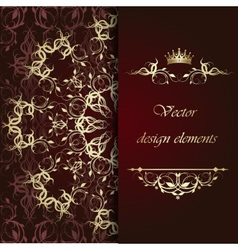 Beautiful gold calligraphic pattern vector image