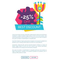 Best discount 25 off promo sticker cartoon flower vector