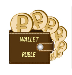 Brown wallet with ruble coins vector