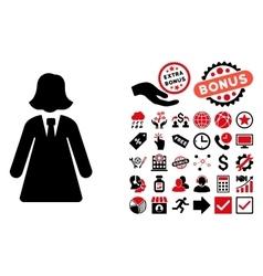 Business Lady Flat Icon with Bonus vector image