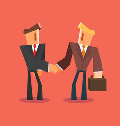 Businessmen shaking hands successful deal concept vector