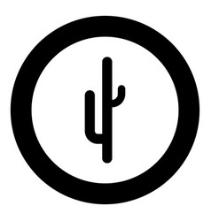 Cactus black icon in circle isolated vector