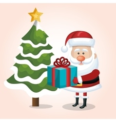 card merry christmas santa claus gift and tree vector image