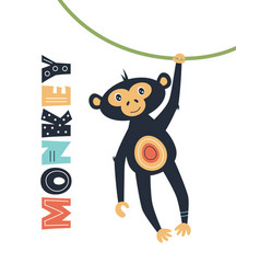 Card with cute monkey isolated on white vector