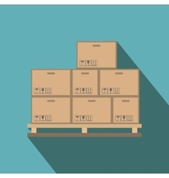 Cardboard boxes on wooden palette flat vector
