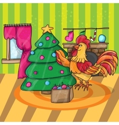 Cartoon cock with tree Rooster vector