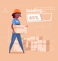 Cartoon woman builder carry boxes over abstract vector