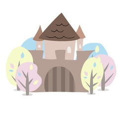 Castle with trees on a white vector