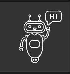 Chatbot saying hi chalk icon vector