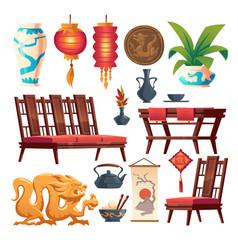 Chinese restaurant stuff asian decor isolated set vector
