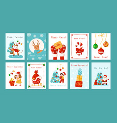 Christmas and new year cartoon cards vector