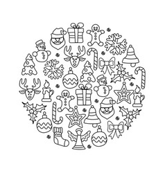 christmas icon set round vector image