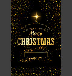 christmas tree card ribbon black background vector image