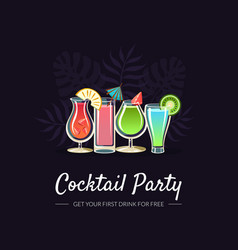 cocktail party banner template bar restaurant vector image