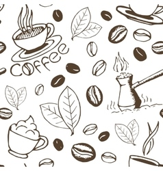 Coffee hand drawn seamless pattern vector