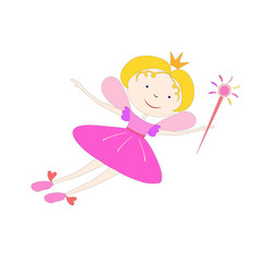 color cartoon fairy flying with a magic wand vector image