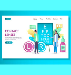Contact lenses website landing page design vector