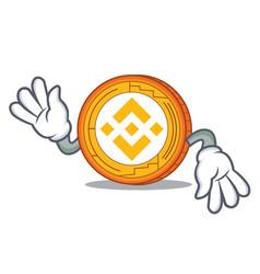 Crazy binance coin mascot catoon vector