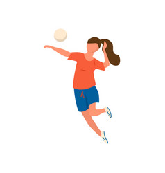 Cute young woman in red shirt and blue shorts vector