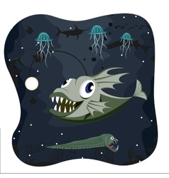 Deep water angler fish with marine life vector