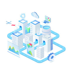 digital technologies isometric vector image