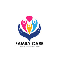 Family care logo design template child on the vector
