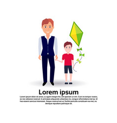father hold hand son kite full length avatar on vector image