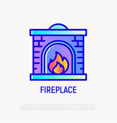 fireplace thin line icon modern vector image