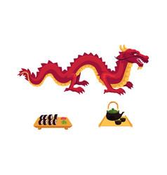 flat dragon sushi and tea ceremony set vector image