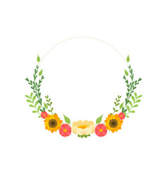floral wreath circle frame with blooming flowers vector image