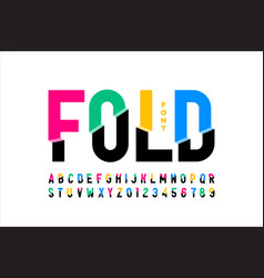 folded style colorful font vector image