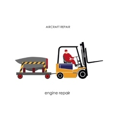 Forklift transporting engine aircraft for repair vector