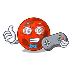 Gamer mars planet mascot cartoon vector