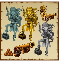 Gold and silver statues of women pirates with guns vector
