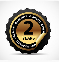 Gold guarantee sign 2 years warranty label vector