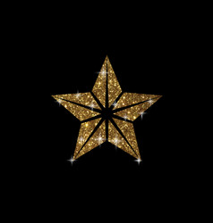 golden glitter review star icon on black vector image