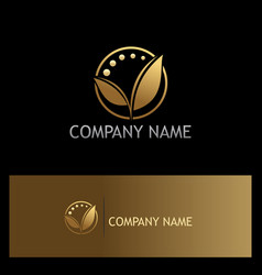 Golden leaf organic beauty logo vector