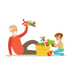 Grandfather playing toys with boy part of vector