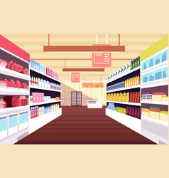 Grocery supermarket interior with full product vector