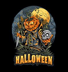 halloween scarecrow skull head and pumpkins vector image