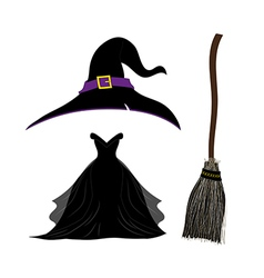 Halloween Set Witch Hat Black Dress Broom vector