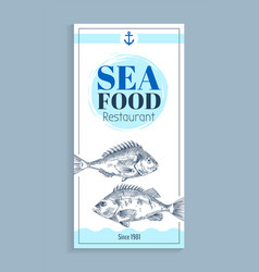 Hand drawn bream or bass seafood banner set vector