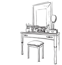 Hand drawn chair table and mirror vector